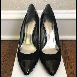 Calvin Klein Black Suede/Patent Heels.